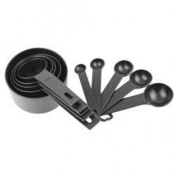 EH Medición 10Pcs Negro Plástico cucharas y tazas Set Herramientas para el té de la hornada de café Negro