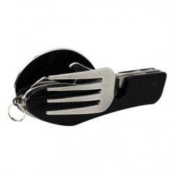 Portátil 3 en 1 de acero inoxidable plegable Cuchillo Cuchara Tenedor Vajilla para acampar al aire libre de la comida campestre