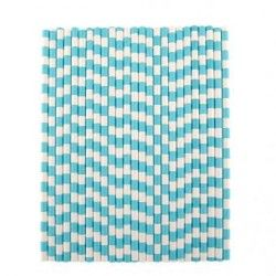 25pcs Blue Striped Sucker Drinking Straws