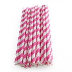 25pcs Spiral Pattern Striped Paper Straws for Wedding Party (Rose Red)