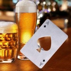 New Stylish Hot Sale Stainless Steel Openors Poker Playing Card of Spades Bar Tool