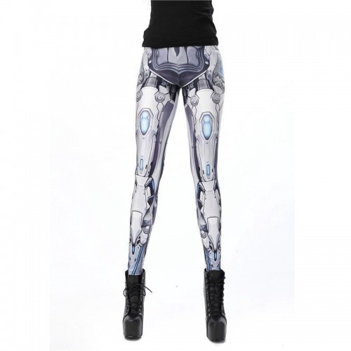 Leggings Robot Blanco Armadura cosplay