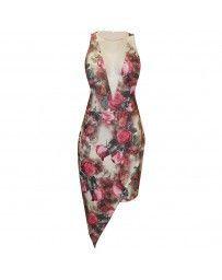 Vestido Corto Asimétrico Estampado Floral By Hollywood Nites
