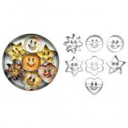 Juego de 7 cortadores para galletas IBILI Mod 731900 de sonrisa- Plata
