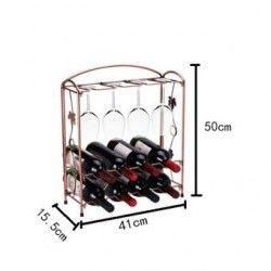 louiwill Clásica de metal de  8 botellas de vino 8 vasos, estante del sostenedor,organizador,almacenaje de vino (latón antiguo)