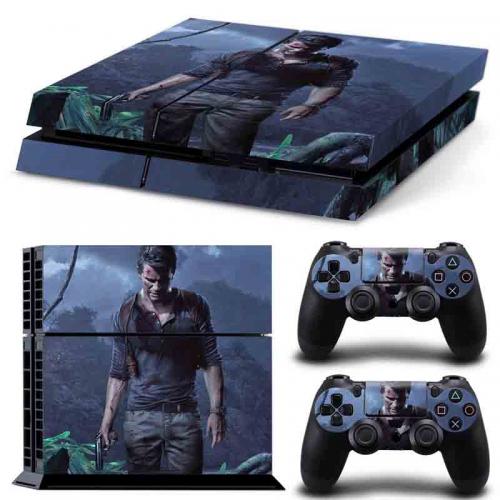 PS4 Vinyl Skin Estampas Compatible Con La Cónsola PlayStation 4 y Para 2 Controles PlayStation 4 (Uncharted 4)