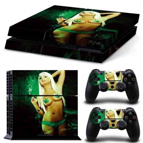 PS4 Vinyl Skin Estampas Compatible Con La Cónsola PlayStation 4 y Para 2 Controles PlayStation 4 (Chica Sexy)