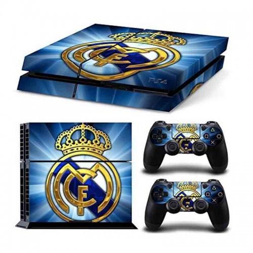 PS4 Vinyl Skin Estampas Compatible Con La Cónsola PlayStation 4 y Para 2 Controles PlayStation 4 (Real Madrid)