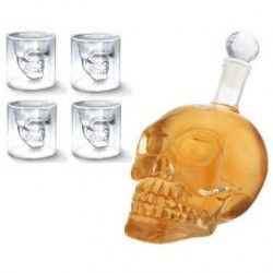 Set De 4 Shot Doomed Y Licorera De Cristal Calavera 350ml
