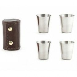 Shot glasses con funda de cuero Kikkerland Shots glasses Gris