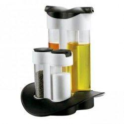 Dispensador 2 en 1: salero, pimentero, aceite y vinagre.