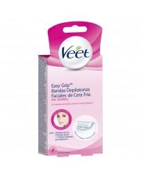 Veet® Easy Grip™ Bandas Depilatorias Faciales de Cera Fria para Piel Normal con 20 Bandas de Cera