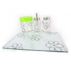 Juego de cocina flores Brang- transparente