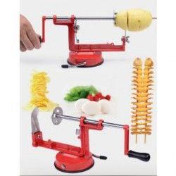 Máquina para espiropapas papas espiral manual herramienta de cocina - Rojo