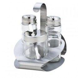 Servilletero y set de condimentos (sal, pimienta y azucar)