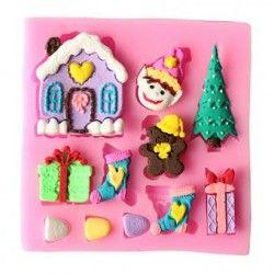 Casa de Navidad y la nieve de un árbol decorativo en forma de chocolate fondant molde de silicona para hornear pastel jabon