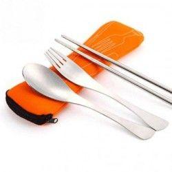 vajilla de viaje del acero inoxidable palillos tenedor cuchara vajilla que acampa portable bolsa de picnic al aire libre comida