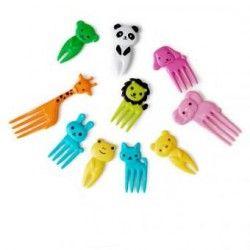 10pcs / set del animal del campo de mini fruta de dibujos animados signo tenedor de resina de fruta palillo de dientes
