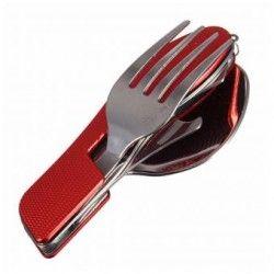 Portátil 3 en 1 de acero inoxidable plegable Cuchillo Cuchara Tenedor Vajilla para acampar al aire libre de la comida