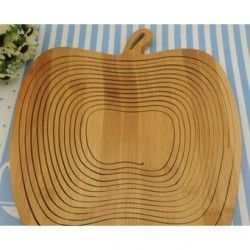 louiwill Apple forma plegable de bambú cesta de fruta (de madera del color)