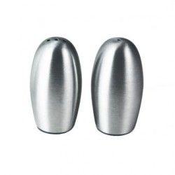 Juego De Salero Y Pimentero Metalicos Con Forma Semi Ovalada Modelo SM-408840 Namaro Design