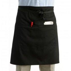 Mujeres Hombres Unisex universal de Cocina con delantal de cintura corto Delantal camarero delantal con bolsillos dobles (negro)