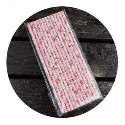 Duola 25 x papel de Saika Retro beber Cañitas (Pnk fondo blanco rosa puntos)
