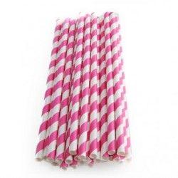 Duola 25pcs espiral patrón a rayas de papel paja para boda (rosa roja)