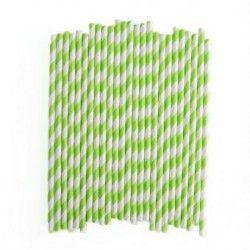 Duola 25pcs espiral patrón a rayas de papel paja para fiesta de boda (verde)