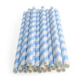 Duola 25pcs espiral patrón a rayas de papel paja para boda (azul)