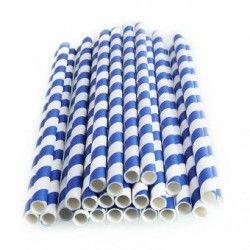 25pcs Spiral Pattern Striped Paper Straws for Wedding Party (Mazarine)