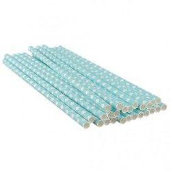 25 Pieces Polka Dot Polka Paper Drinking Straws (Blue)