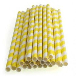 25pcs Spiral Pattern Striped Paper Straws for Wedding Party (Yellow)