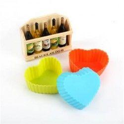 Hermoso corazón de silicona para hornear galletas de chocolate para hornear moldes molde molde color al azar.