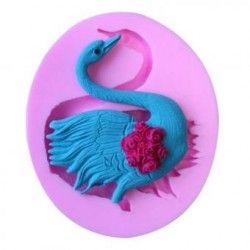 Decoracion de pastel de fondant rosa de silicona molde molde cisne.