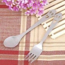 Nuevo acero inoxidable vajilla portátil linda sonrisa cara té bebida café cuchara + tenedor conjunto 2 en 1