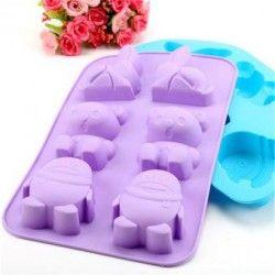 Molde de hornear galletas de chocolate para hornear moldes de animales de hielo molde molde set de 6 (multicolor).