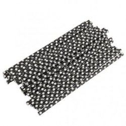 Generico 25 Pcs Black Small Polka Paper Drinking Straws For Bar Wedding Party Prom