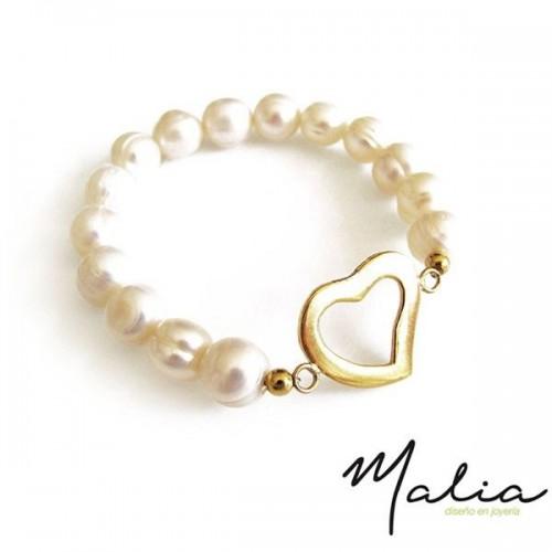 Pulsera Corazón con Perlas Naturales