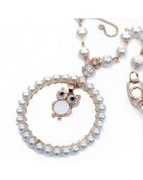 Collar Búho Blanco con Perlas