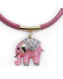 Juego de Collar Elefante Rosa
