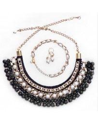 Juego de Collar Egipcio Negro y Perla