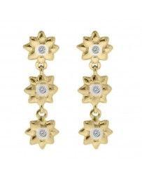 Aretes Fianelli Oro Amarillo 14K con 6 Puntos de Diamante Vilma Bviar-F93
