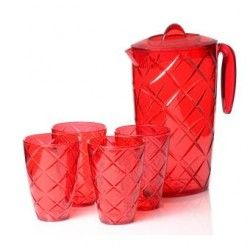 "Jgo. de Jarra c/ 4 Vasos,Herevin,""Venezia"",,Rojo"