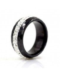 Anillo Ceramic Facet on Black, Cristal Sun with Swarovski.