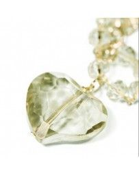 Collar Corazón Cristal Beige