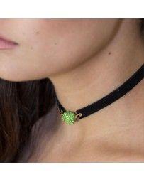 Collar Choker Corazón Cristal Verde