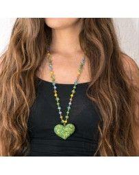 Collar Corazón Vitral Verde