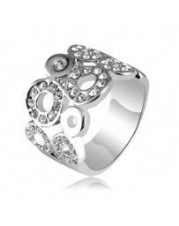 Anillo Loving Circles on White Cristal Sun with Swarovski