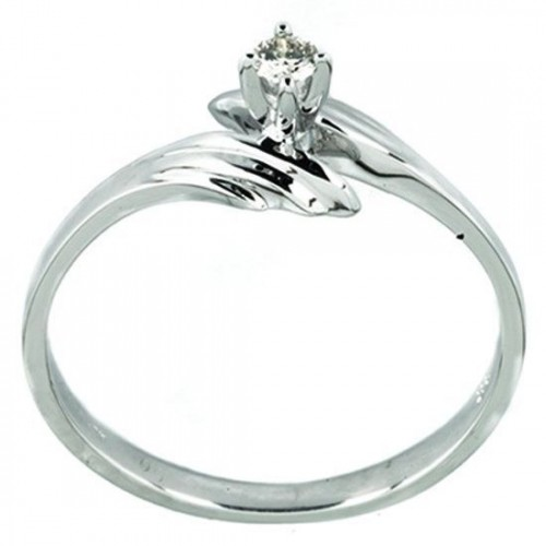 Anillo de Oro Bercov Blanco con Diamante .06 Puntos 5124